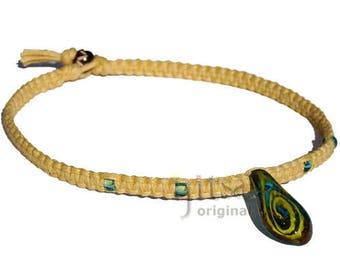 Yellow Light Blue Teardrop Glass Pendant Mustard flat Hemp Surfer Choker Necklace