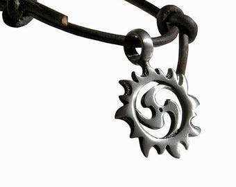 Surfer style Adjustable Necklace/Choker with Sun Spiral pewter pendant