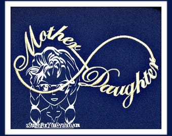 MOTHER DauGHTer INFINITY - Love Gift on a Pillow or Towel or Photo Frame ~ Downloadable DiGiTaL Machine Embroidery Design by Carrie