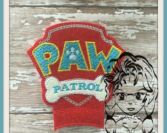 PUPPY PuP PATROL Center (Add On ~ 1 Pc) Mr Ms Mouse Ears Headband ~ In the Hoop ~ Downloadable DiGiTaL Machine Embroidery Design by Carrie