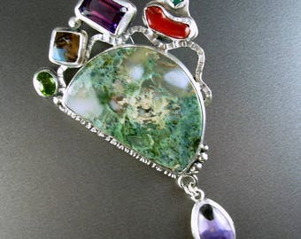 Chelle' Rawlsky STONE SOUP COLLECTION  large sterling silver pendant hells canyon moss agate  peridot opal amethyst coral agate tiffany ston