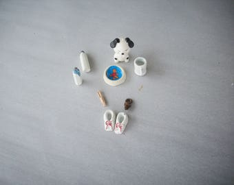 miniature baby accessories,miniature nursery items,doll house,craft supplies,metal miniatures,baby dish ware