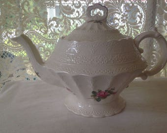 Spode Teapot Billingsley Rose Pink Four Cup Pot Rare Vintage China Kitchenware Collectible Older Pink Markings 1930s