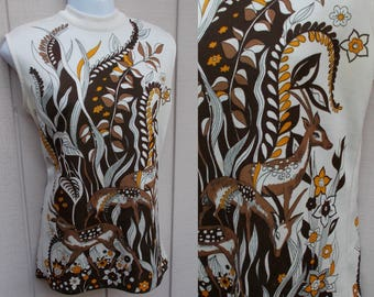60s Vintage Sleeveless Shell Top by Hamilton 8 with Deers / Mod Art Novelty Print stretch knit / Sz Med - Lge