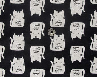 REMNANT Maker Maker Cats in Black   Cotton linen blend cat print fabric from the Maker Maker collection by Sarah Golden for Andover.