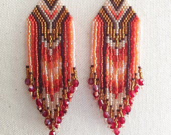 Sedona - Red-Orange and Topaz Wild Heart Southwestern Bohemian Fringe Earrings