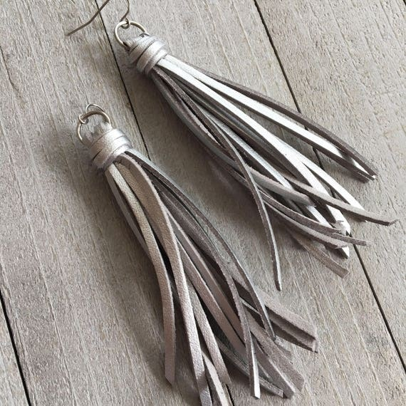 Silver Leather Tassel Earrings -  Fringe Tassel Boho Hippie Statement Earrings Dangle Bohemian, Gift for Her, Gift Under 25