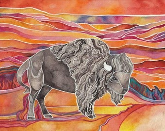Bison in Autumn Giclee print by Megan Noel