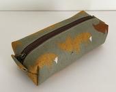 SALE Long box pouch --Fox in khaki