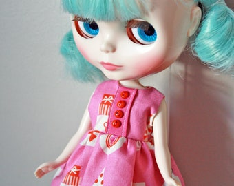 SALE! A Very Mid Century Christmas / One-of-a-Kind Doll Dress for Blythe