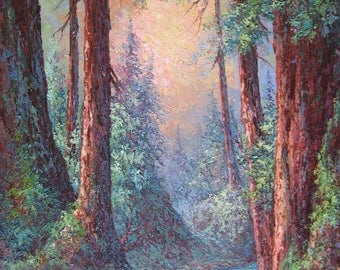 Morning Glory,  Big Basin Redwoods, Original Fine Art, Oil Painting by Griselda Tello.