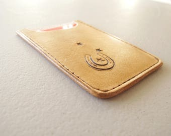 Leather Card Sleeve, Lucky Horseshoe, Business Card Sleeve, Micro Wallet, Stamped Leather, Handmade in Canada, Gift for Him