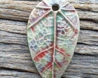Leaf Pendant Ceramic Stoneware Leaf Textured  Multi color pastesl  Handmade by Mary Harding