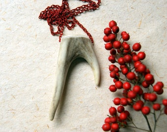 Double Antler Tip Necklace with Vintage Red Enameled Chain - FREE GIFT WRAP