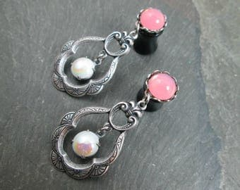 Dangle Plugs - 10g - 8g - 6g - 4g - 2g - 0g - Wedding Gauges - Filigree Plugs - Wedding Plugs - Plug Earrings - Pink Wedding Gauges