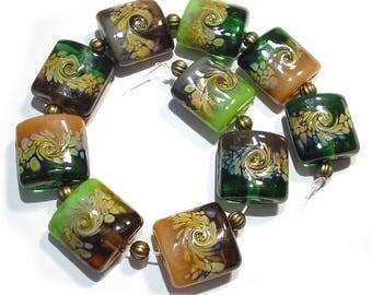 Handmade Glass Lampwork Beads,  Greens  and Browns Raku Nuggets