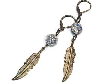 Feather Earrings with Sparkling Swarovski Paradise Shine Crystals