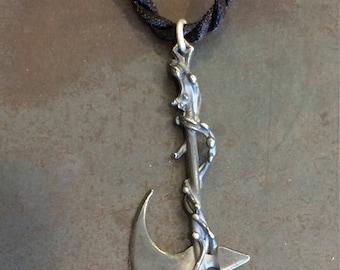 Sterling silver battle axe pendant
