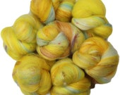 Lemonade Stand battlings -- mini batts (2 oz.) organic polwarth wool, bamboo, tencel, sari silk, sparkle.