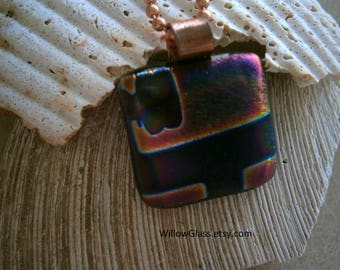 Dichroic Fused Glass Pendant in Purple with Copper Chain, Dichroic Glass Jewelry,  Willow Glass