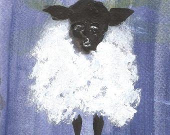 WOOLLY BULLY - original sheep painting, acrylic 5 x 5 in. collectible, folk art, naive art