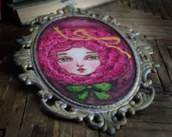 Danita original watercolor painting. A pink rose inspired by the little prince and Alice in wonderland. Beautiful surrealist wall art decor