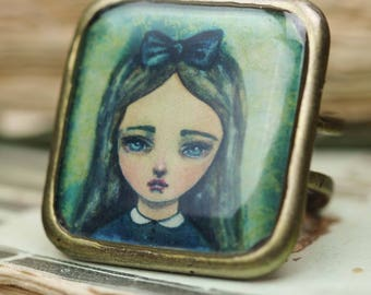 Alice in Wonderland handmade adjustable square ring by Danita. Whimsical watercolor original painting print jewelry, brass metal color rings