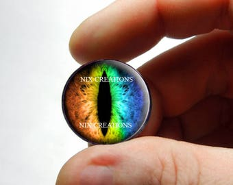 Glass Eyes - Rainbow Dragon Glass Taxidermy Doll Eyes Cabochons - Pair or Single - You Choose Size