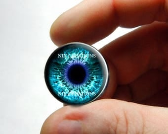 Glass Eyes -  Blue Zombie Human Doll Taxidermy Eyes Handmade Glass Cabochons for Steampunk - Pair or Single - You Choose Size