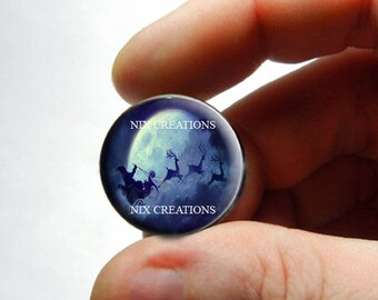 Glass Santa Christmas Cabochon - P1 - for Jewelry and Pendant Making