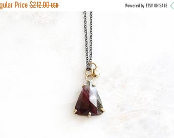 ON SALE 14k gold tourmaline and diamond charm necklace, mixed metals, tourmaline necklace