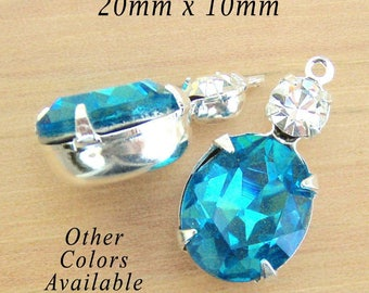 Aqua Blue Oval Glass Beads - Framed Glass Pendant or Earring Drops - 20mm x 10mm - 12x10 Oval - Rhinestones - Jewelry Supply - One Pair