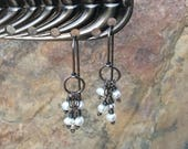 Freshwater PEARL Earrings with sterling silver, hoop earrings, handmade artisan jewelry by Angry Hair Jewelry