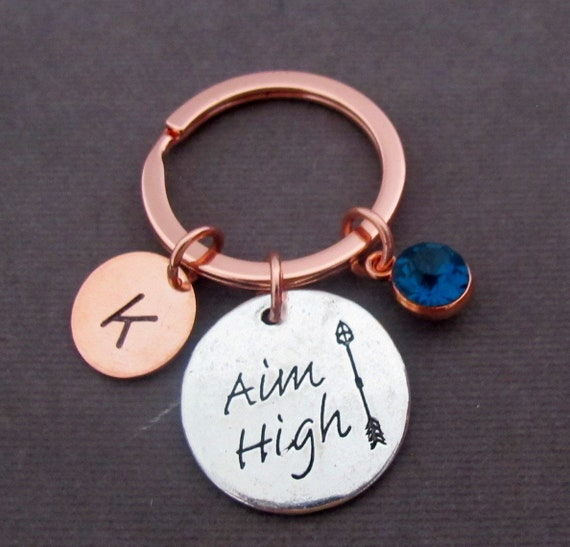Aim High Keychain, Graduation Keychain with Birthstone and Initial, Motivational Gift, Arrow Keychain, Inspiratinal Gift, Free Shipping USA