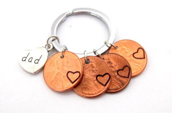 Dad Keychain,Dad Gift,Father's Day, Dad Penny Keychain,Penny Year keychain,Gift for Dad,Gift from kids, Dad Birthday Gift, Free Shipping USA