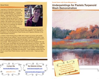 Pastel Painting Lesson Demo PDF Underpaintings for Pastels: Turpenoid Wash Art Tutorial  booklet sunset,water,reflections