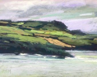 IRELAND Seashore Patchwork Shores  Landscape Original Pastel Painting Karen Margulis 5x7