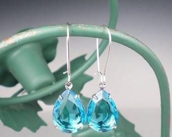 SUMMER SALE Aqua Rhinestone Drop Earrings Aqua Wedding Bridesmaid Earrings Jewelry