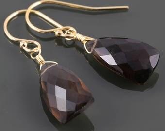 Smoky Quartz Earrings. Gold-Filled Ear Wires. Unique Triangle Shape. Genuine Gemstone. Lightweight Earrings. f17e022
