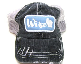 Clearance - Sale - Gift - Gracie Designs Hat - Blue and White Wisco Patch on Gray Distressed Trucker