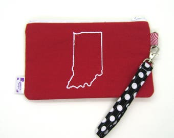 Clearance - Sale - Gift - Gracie Designs Wristlet - Red and White Indiana