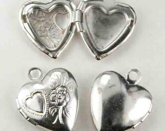 Silver Plate 13mm Floral Heart Locket Pendant Charm Bead 1pcs