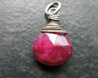 Faceted Ruby Briolette Charm - 20mm in length
