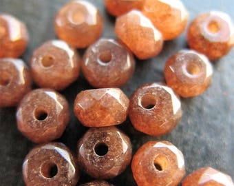 Faceted Chocolate Brown Quartz Rondelle Bead Set - 4mm - 20 pieces