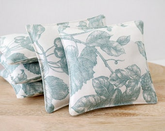 Botanical Lavender Sachet, Aqua and White Garden Floral Drawer Sachet