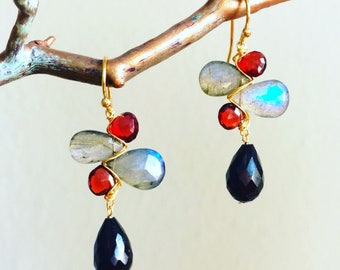 Rhodolite Garnet and Labradorite Earrings
