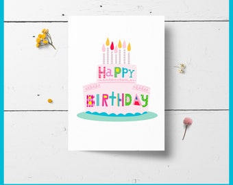 40% off Printable Birthday Card Cake and Candles, DIY, Instant Download,