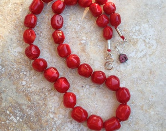 long red necklace, red coral