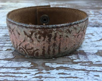 Embossed Leather Cuff-Create Your Own-Painted Leather-Word Cuff
