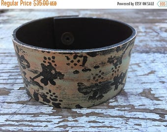 SALE- Embossed Leather Cuff-Create Your Own-Painted Floral Leather-Word Cuff